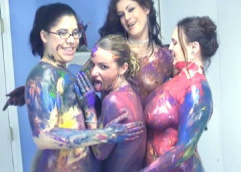 Madalyn & LuLu's body paint party